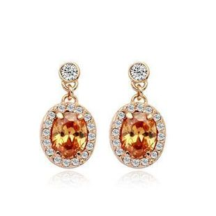Beautifully set with imitated crystal zircon earrings NHLJ145901's discount tags