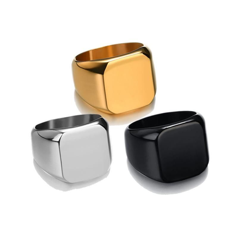 Fashion stainless steel glossy square ring NHHF145910