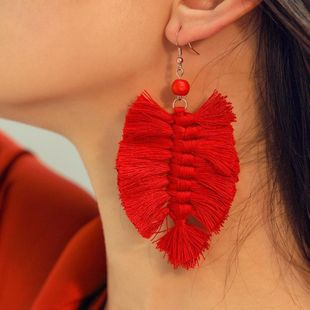 Fashion cotton su-leaf woven earrings NHLU145913's discount tags
