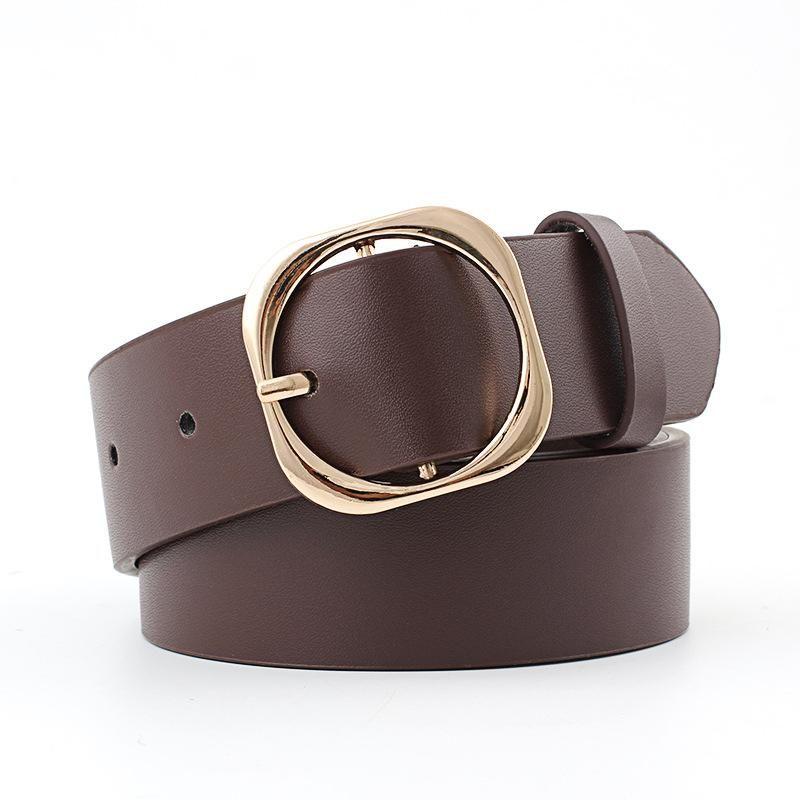 Fashion vintage metal square buckle women belt NHPO145937