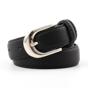 Vintage metal pin buckle solid color women belts NHPO145943's discount tags