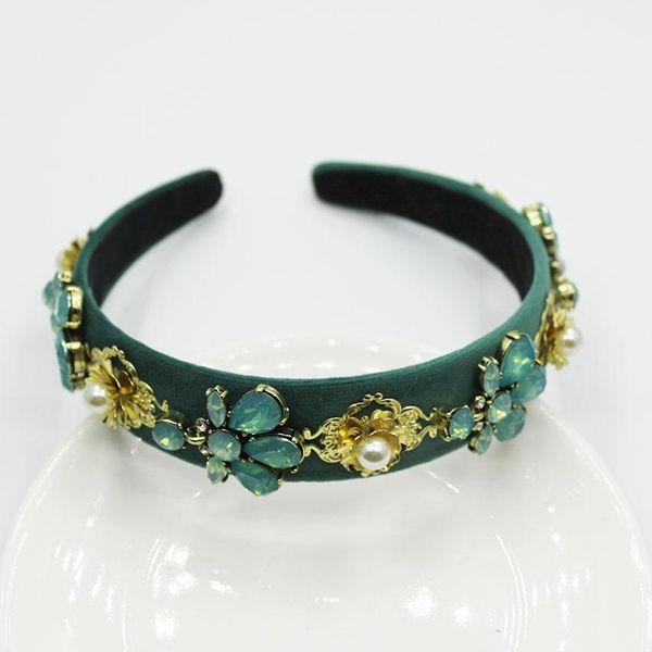 Fashion emerald flower beads headband NHWJ145975