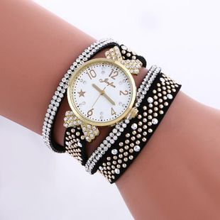 Fashion Rhinestone Studded Leather Bracelet Watch NHSY146057's discount tags