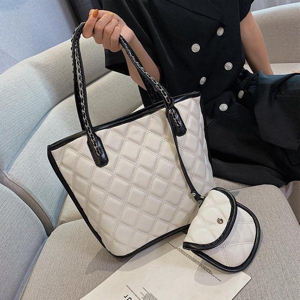 Fashion portable rhombic bulk tote bag NHTC146253