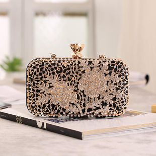 Banquet bag alloy rhinestone women's portable small square bag NHYG146291's discount tags