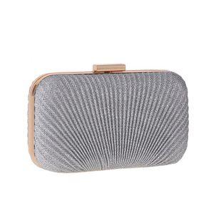 Sleek minimalist hard shell pleated evening bag NHYG146354's discount tags