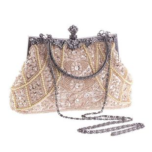Vintage heavy craft beaded embroidered bag evening wear portable evening bag NHYG146464's discount tags