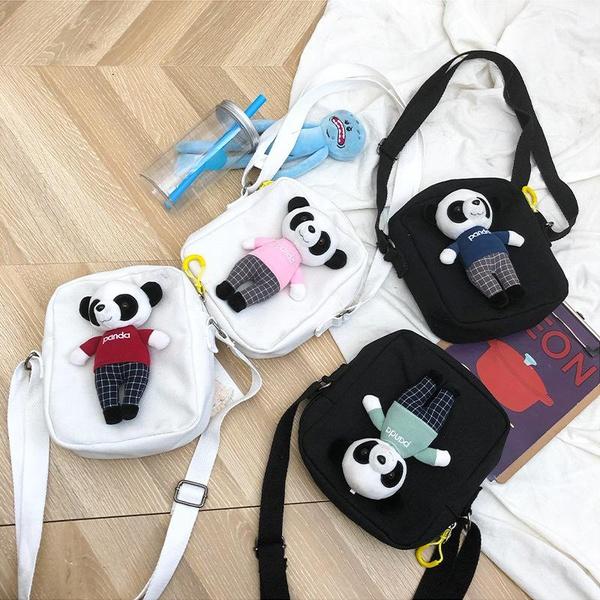 Creative funny three-dimensional panda doll canvas shoulder bag NHHX146467