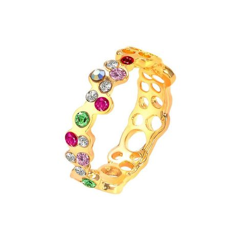 Fashionable rose alloy rhinestone ring NHCU146497's discount tags