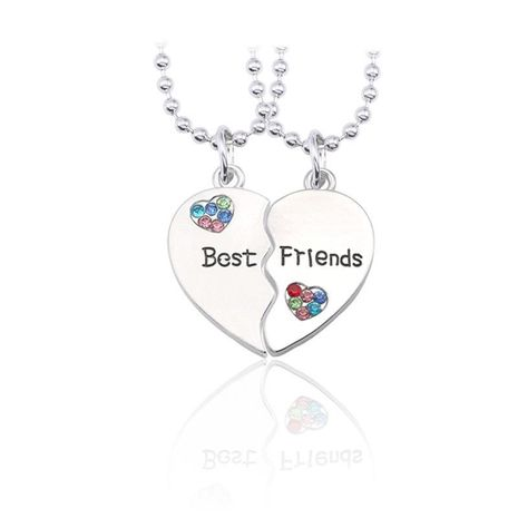English best friends letter heart-shaped stitching two-petal color rhinestone necklace NHCU146506's discount tags
