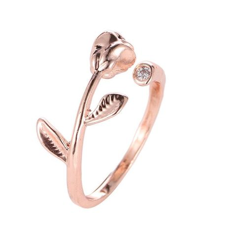 Temperament rose and rhinestone ring NHCU146534's discount tags