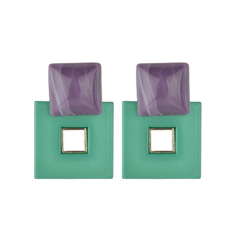Fashion geometric hollow acrylic color variety earrings NHBQ146573
