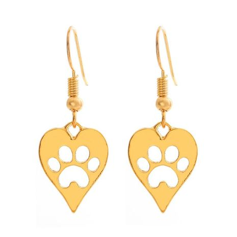 Fashion hollow heart cat claw dog paw print earrings NHCU146614's discount tags