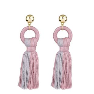 Simple tassel earrings colored cotton autumn and winter earrings NHKC146626's discount tags