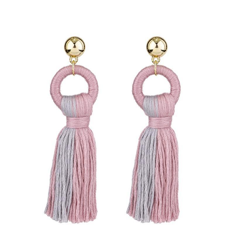 Simple tassel earrings colored cotton autumn and winter earrings NHKC146626