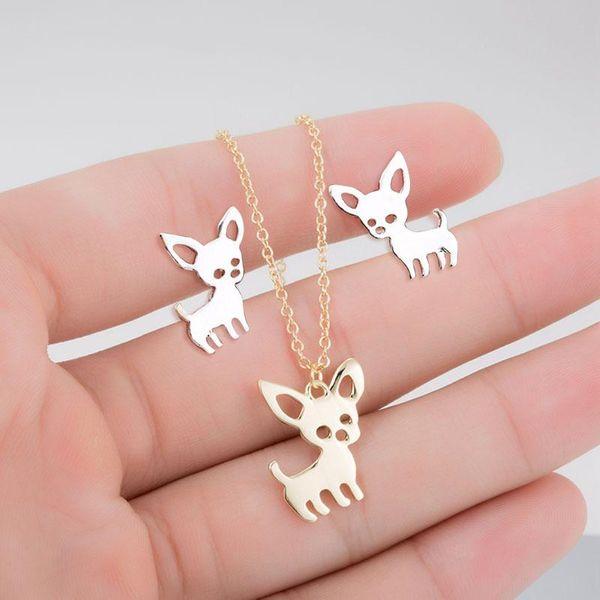 Cartoon animal puppy cat deer earrings necklace set NHCU146645