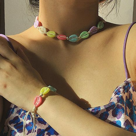 Creative Ocean Wind Color Shell Necklace NHXR146652's discount tags