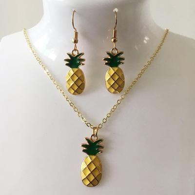 Ensemble de boucles d'oreilles collier pendentif ananas simple NHCU146656's discount tags