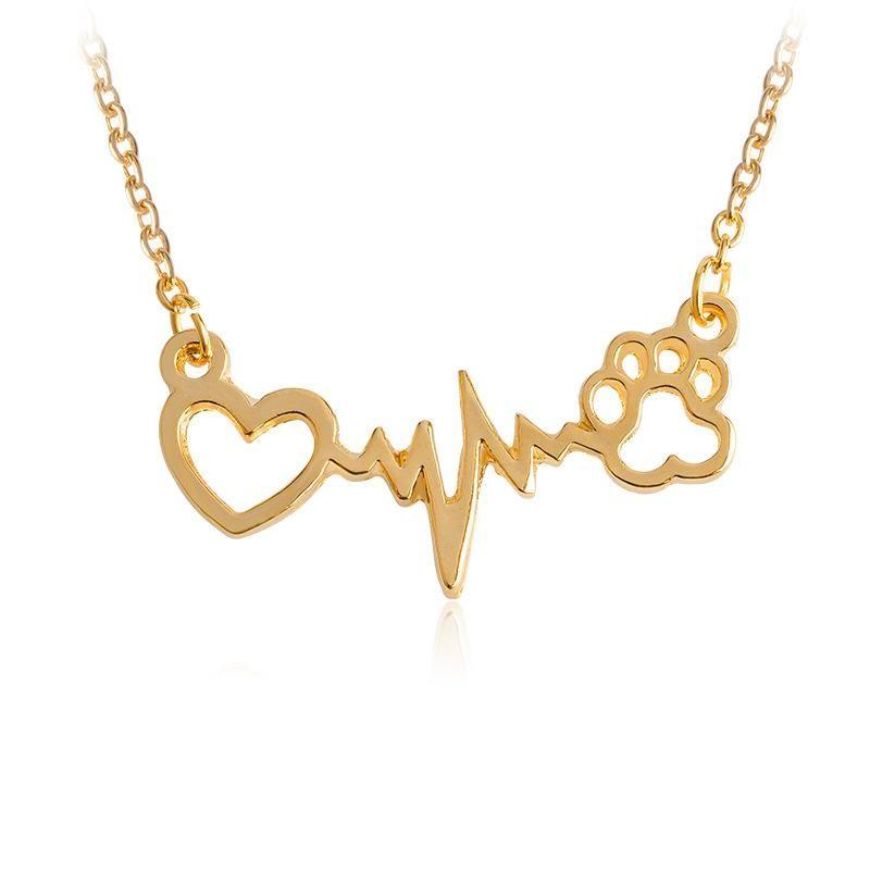 Fashion love bear paw cat dog footprints ECG necklace NHCU146653