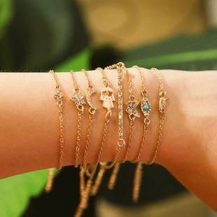 Micro-set geometric smiley leaf chain bracelet NHXR146665's discount tags