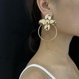 Temperament simple ring flower stereo earrings NHXR146671's discount tags
