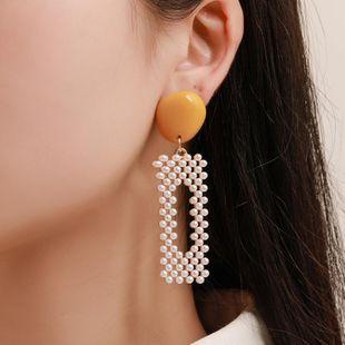 Fashion geometric square imitation beads earrings NHCU146691's discount tags