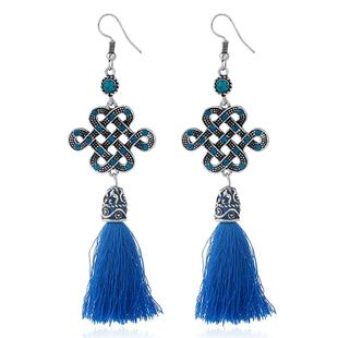 Vintage long tassel earrings NHKQ146694's discount tags