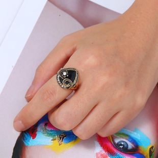 European and American Explosive Turquoise Alloy Ring NHKQ146696's discount tags