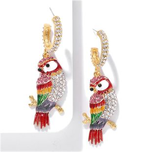 Fashion ethnic wind parrot rhinestone earrings NHJQ146707's discount tags