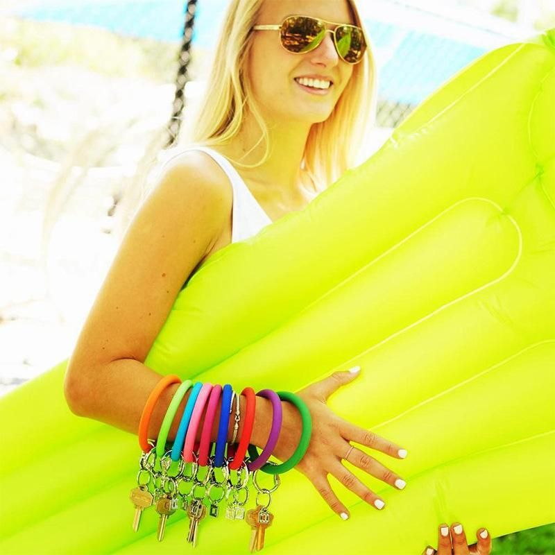 Round color glitter keychain soft silicone sports bracelet NHJQ146716
