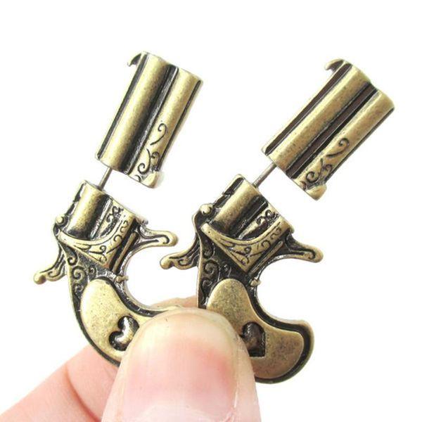 Vintage pattern three-dimensional ancient bronze earrings NHCU146717