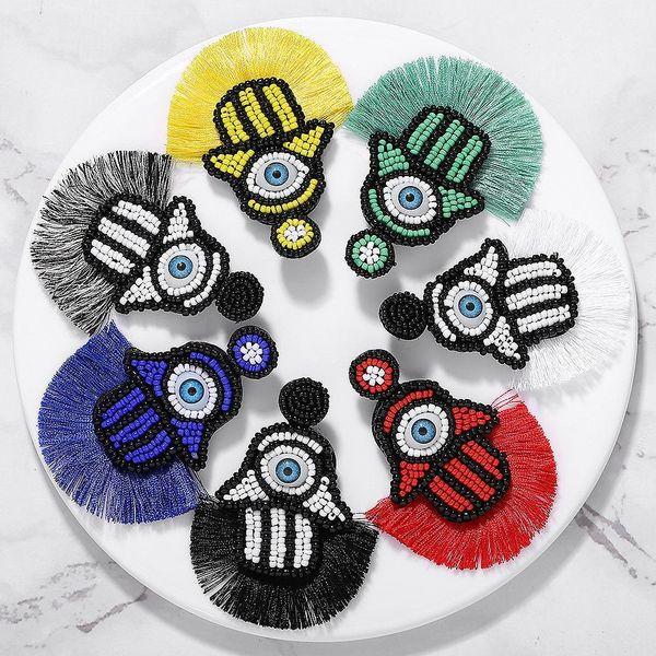 European and American magic eye rice beads tassel earrings NHJQ146720