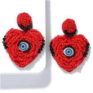 Creative love magic eye hand-woven rice beads earrings NHJQ146722's discount tags