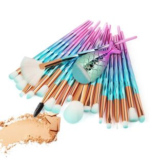 21 pics rhinestone handle mermaid makeup brush set NHDJ146730's discount tags