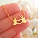 Womens Palms Palm Love Hearts Copper Chain Necklaces NHCU146684