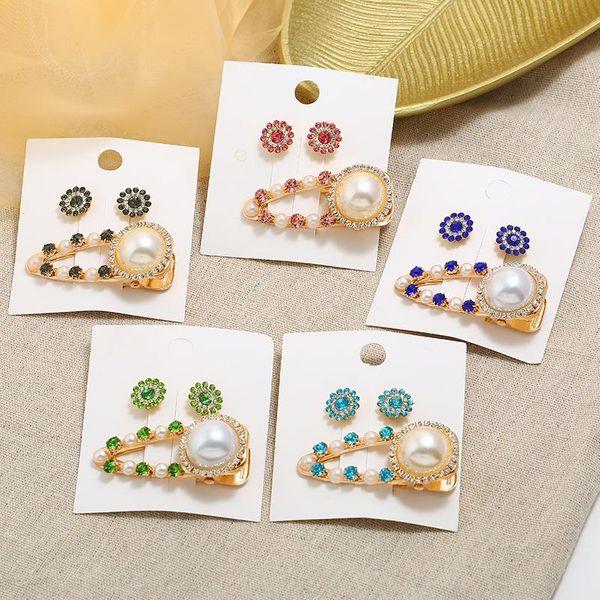 Vintage beads-studded hair clips NHPV146755