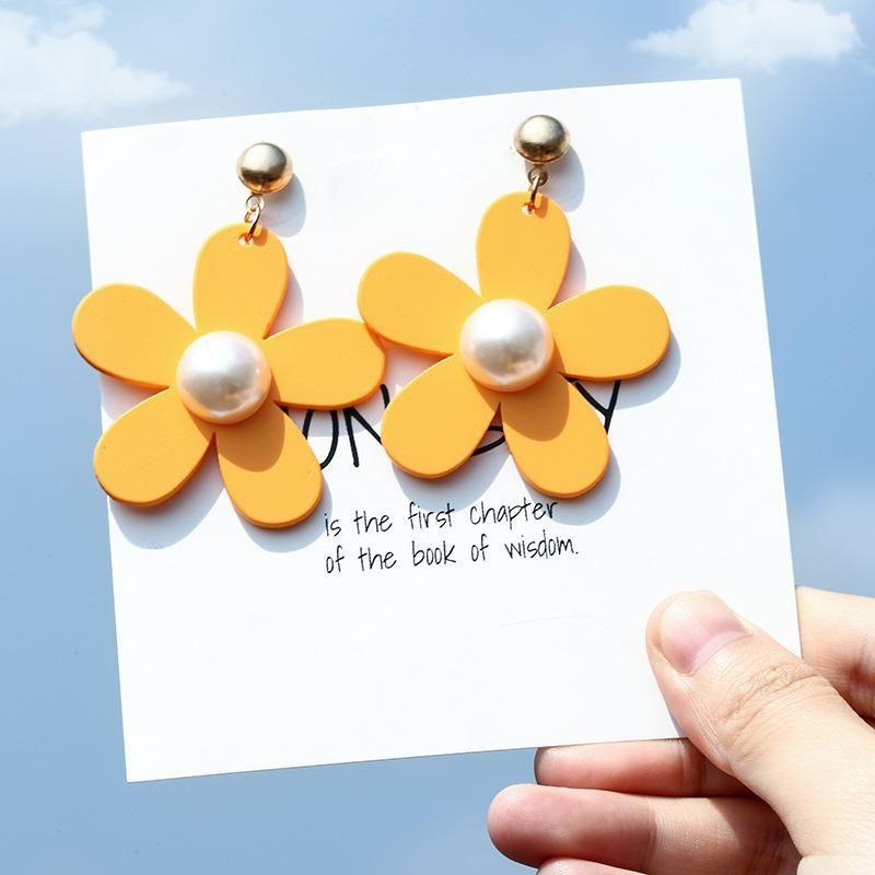 Fresh and sweet acrylic four-color flower earrings NHPF146775