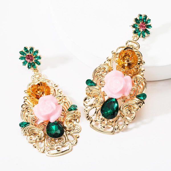 Vintage Rhinestone Resin Flower Earrings NHJE146793
