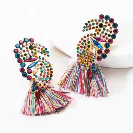 Vintage fashion rhinestone parrot tassel earrings NHJE146794's discount tags
