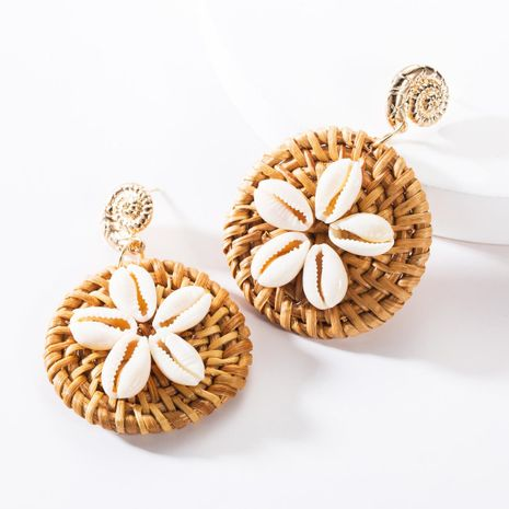 Fashion alloy conch shell flower weaving earrings NHJE146800's discount tags
