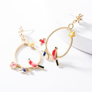 Fashion Alloy Drop Oil Floral Bird Earrings NHJE146816's discount tags