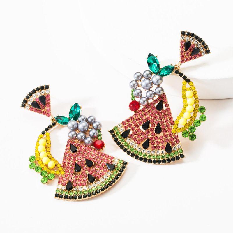 New Rhinestone Watermelon Grape Fruit Earrings NHJE146828