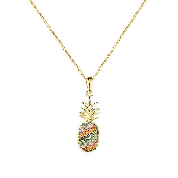 Nuevo collar de piña de color circonita con incrustaciones de cobre NHLN146877