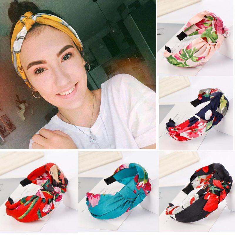 New boho flower print headband NHHV146890