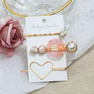 Fashion hollow heart-shaped beads alloy resin hair clips NHPV146906's discount tags