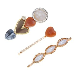 New inlaid beads heart-shaped retro hit color hair clip NHPV146913's discount tags