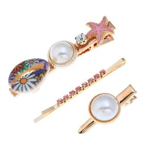 New Beads Rhinestone Starfish Print Shell Hair Clip NHPV146915's discount tags