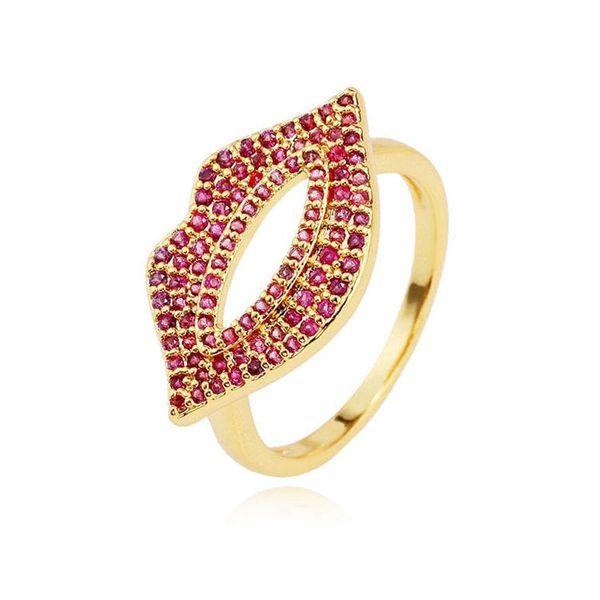 Elegante anillo de labios de color circonita con arcoiris NHLN146923