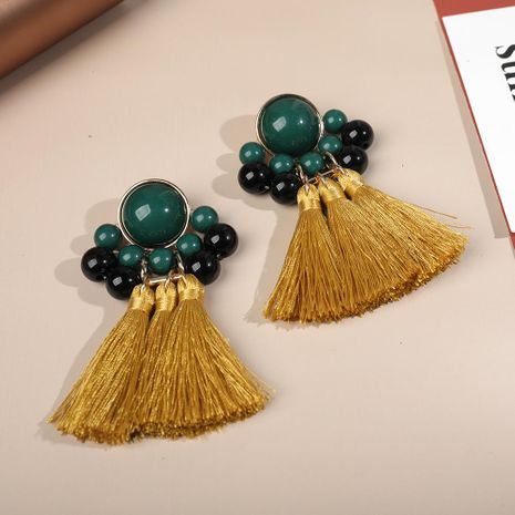 Temperament versatile multi-layer tassel woven earrings NHLL146982's discount tags