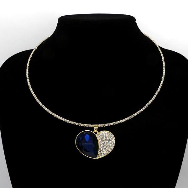 Fashion heart-shaped gemstone rhinestone imitated crystal choker NHHM147000